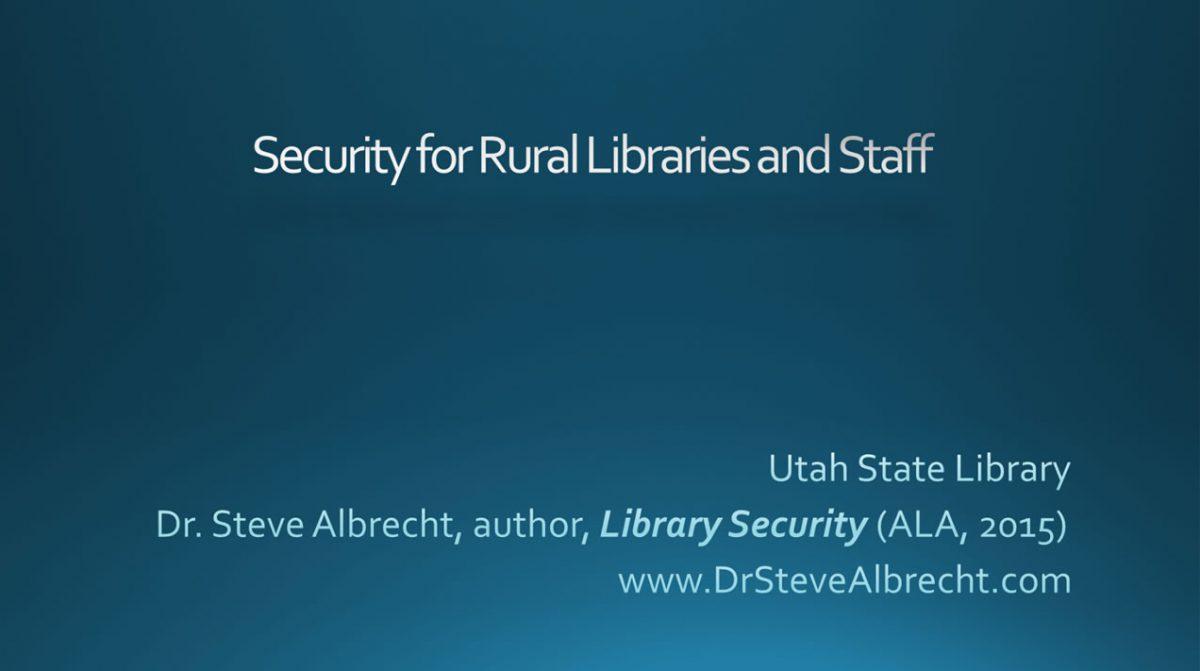 Security for Rural Libraries & Staff Webinar
