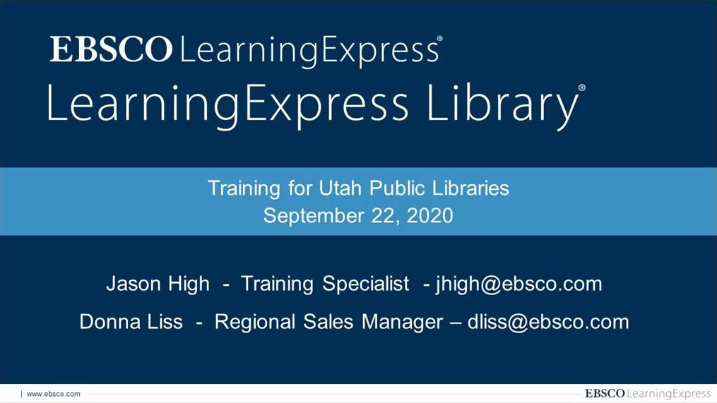 LearningExpress Library and Job & Career Accelerator Setup, Marketing, and Usage Reporting Webinar